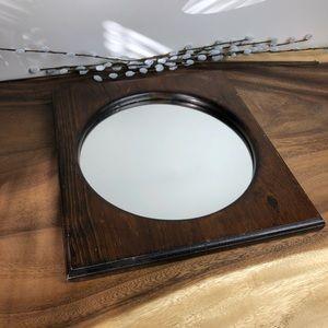 Vintage Round Wood Framed Mirror